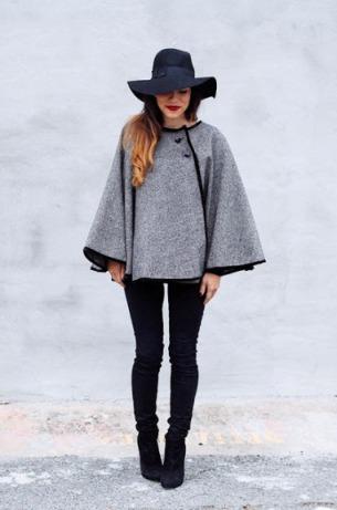 Загадочность стиля с пальто-кейп